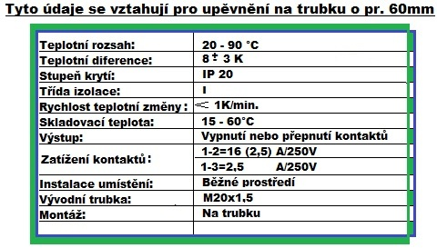 Příložní termostat THP 20 - 90 C nast.pod krytem.